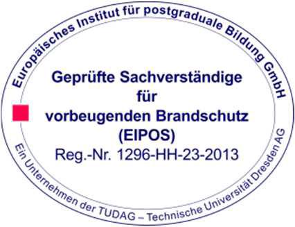 Siegel EIPOS - Geprüfte Sachverständige für vorbeugenden Brandschutz